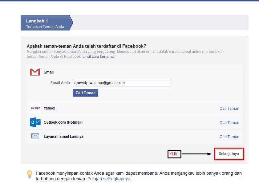 Langkah membuat facebook