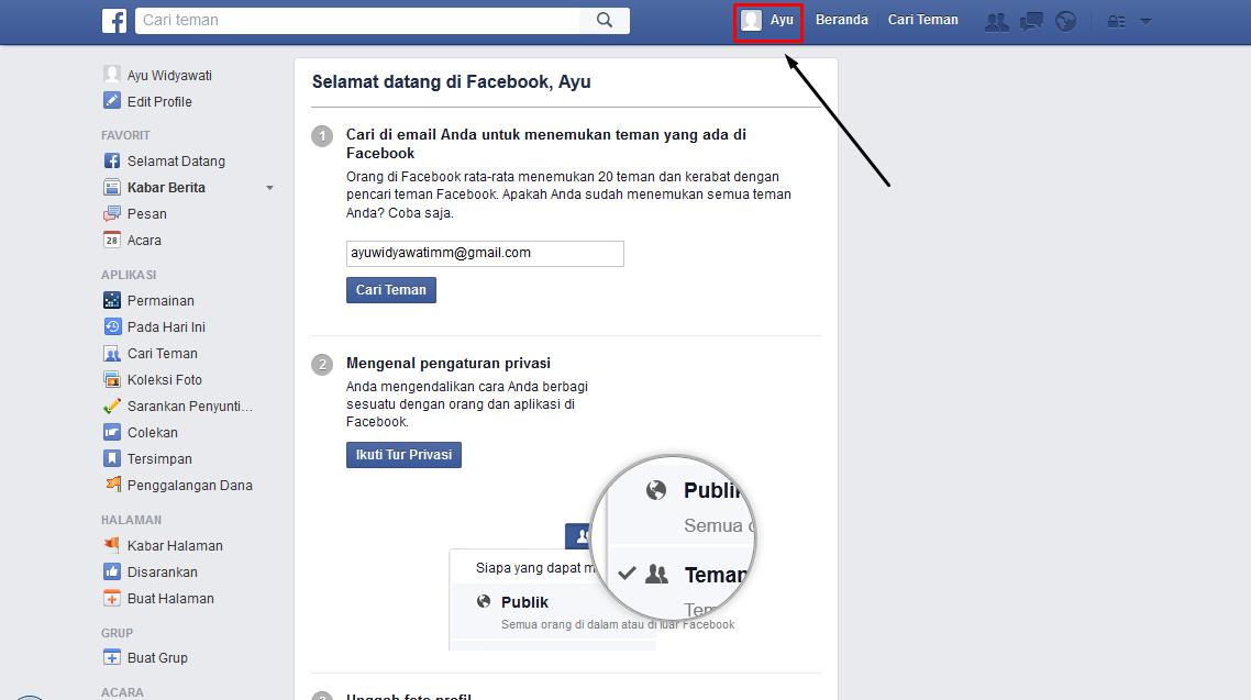 mendaftar di facebook