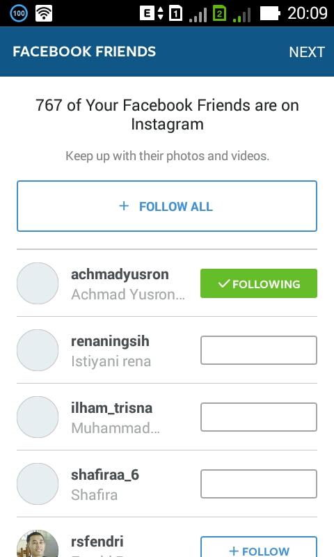 Silahkan follow teman facebook anda yang mengunakan instagram
