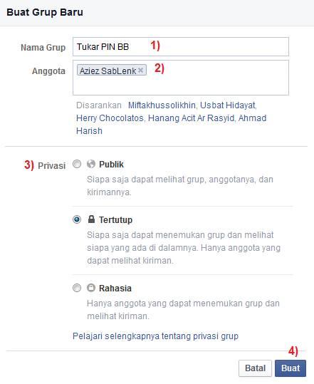 Form Registrasi Pembuatan Grup Facebook