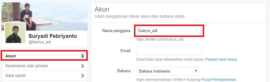 Ubah username kamu