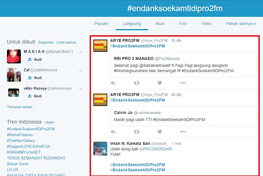 Kumpulan tweet yang menggunakan hastag #EndankSoekamtiDiPro2FM