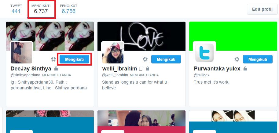 Fitur Following di Twitter