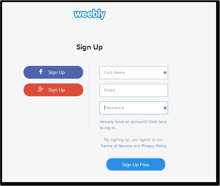 Menu Sign up di Weebly