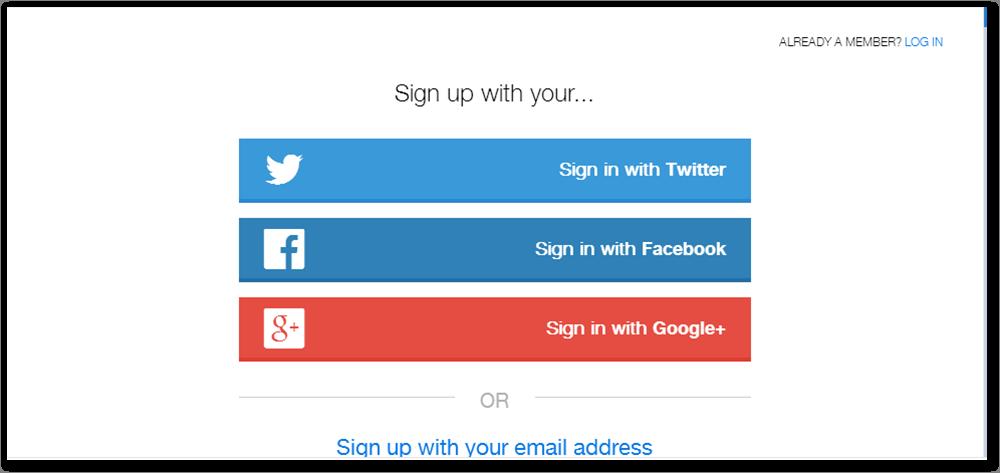 Daftar bisa Lewat Twitter, Facebook atau Google Plus