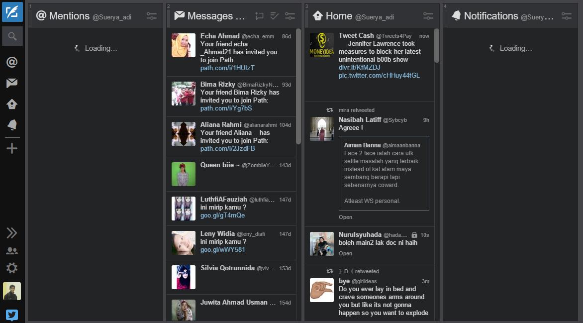 Tampilan halaman Tweetdeck