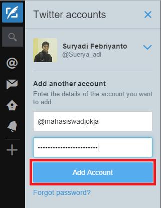 Menambahkan account twitter lain di tweetdeck