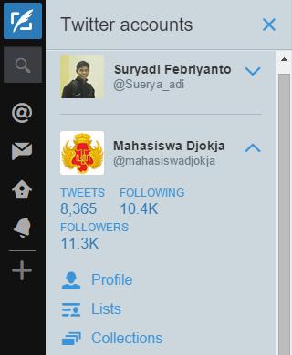Account twitter lain sudah berhasil ditambahkan