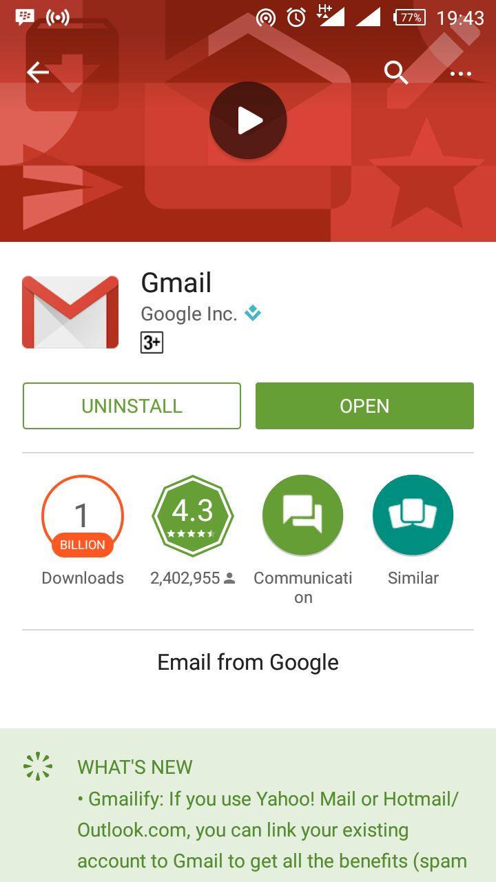 Aplikasi Gmail di Playstore