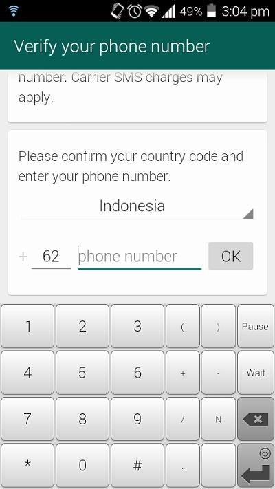 Registrasi Nomor HP di Whatsapp