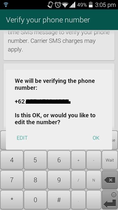 Verifikasi Nomor HP di Whatsapp