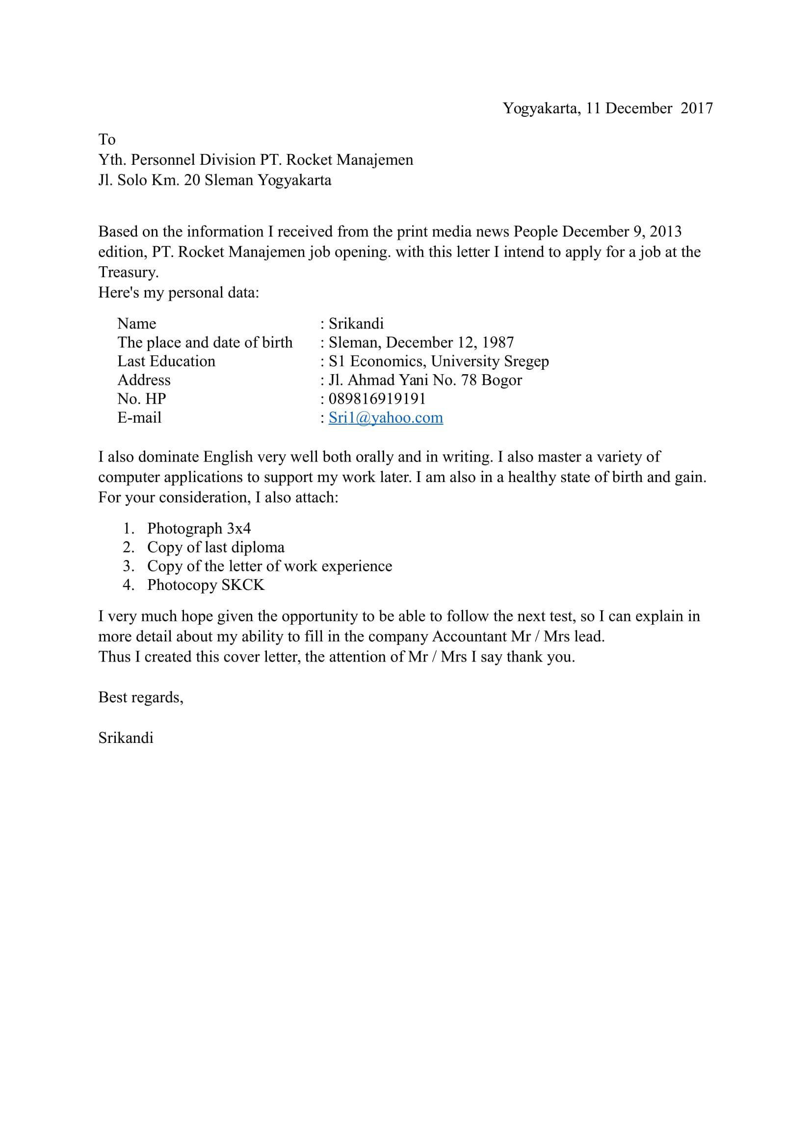 Download 9 Contoh Surat Lamaran Kerja Bahasa Inggris Doc