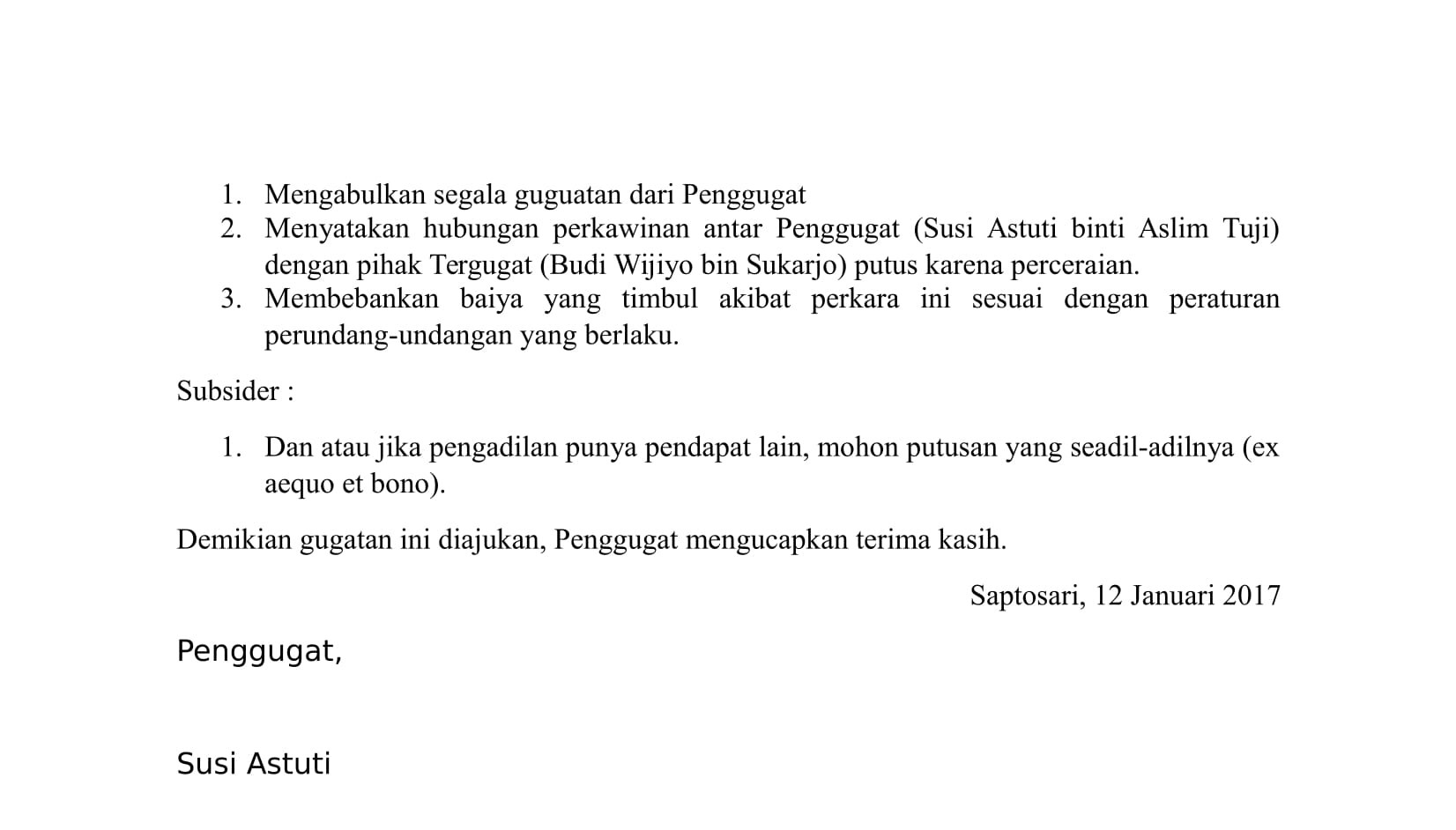 Contoh surat gugatan cerai
