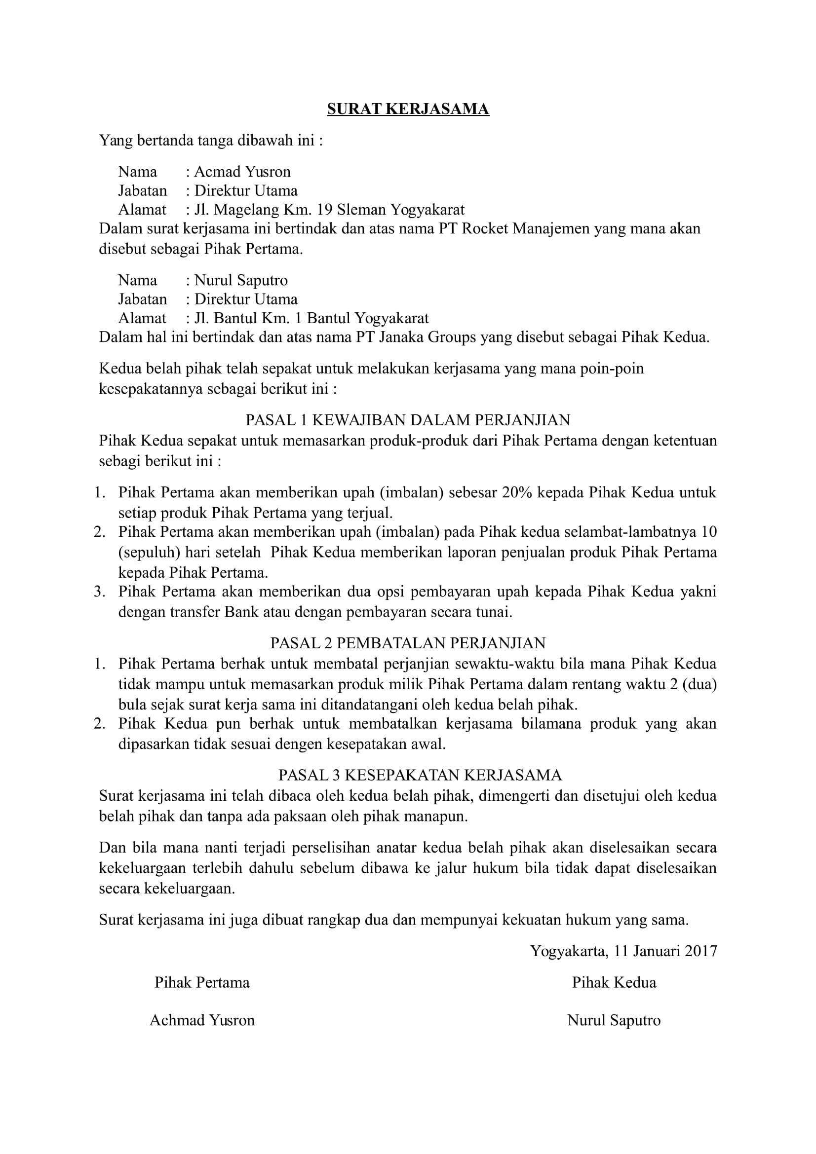Contoh surat kerjasama