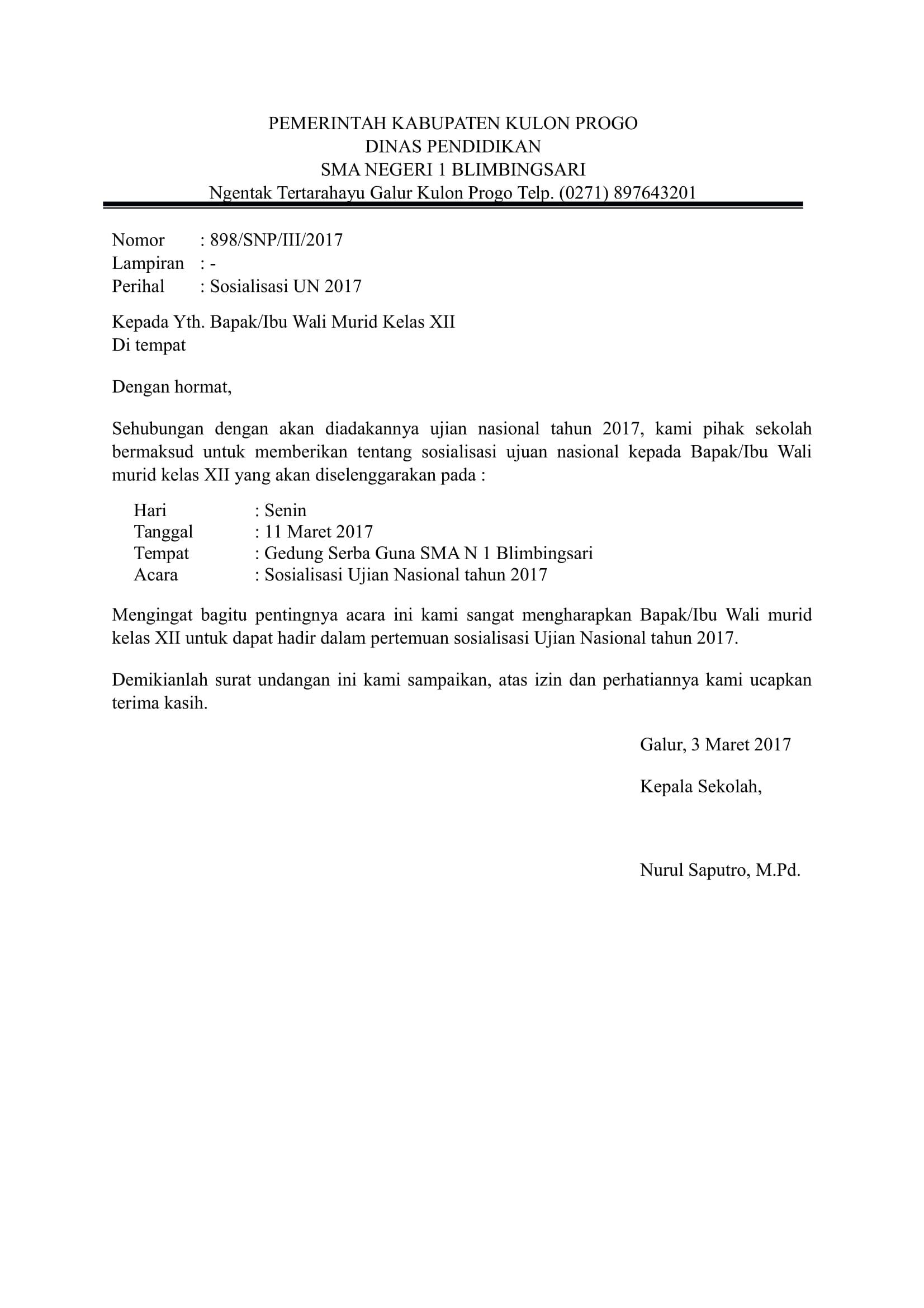 Download Contoh Surat Resmi Sekolah Terbaru