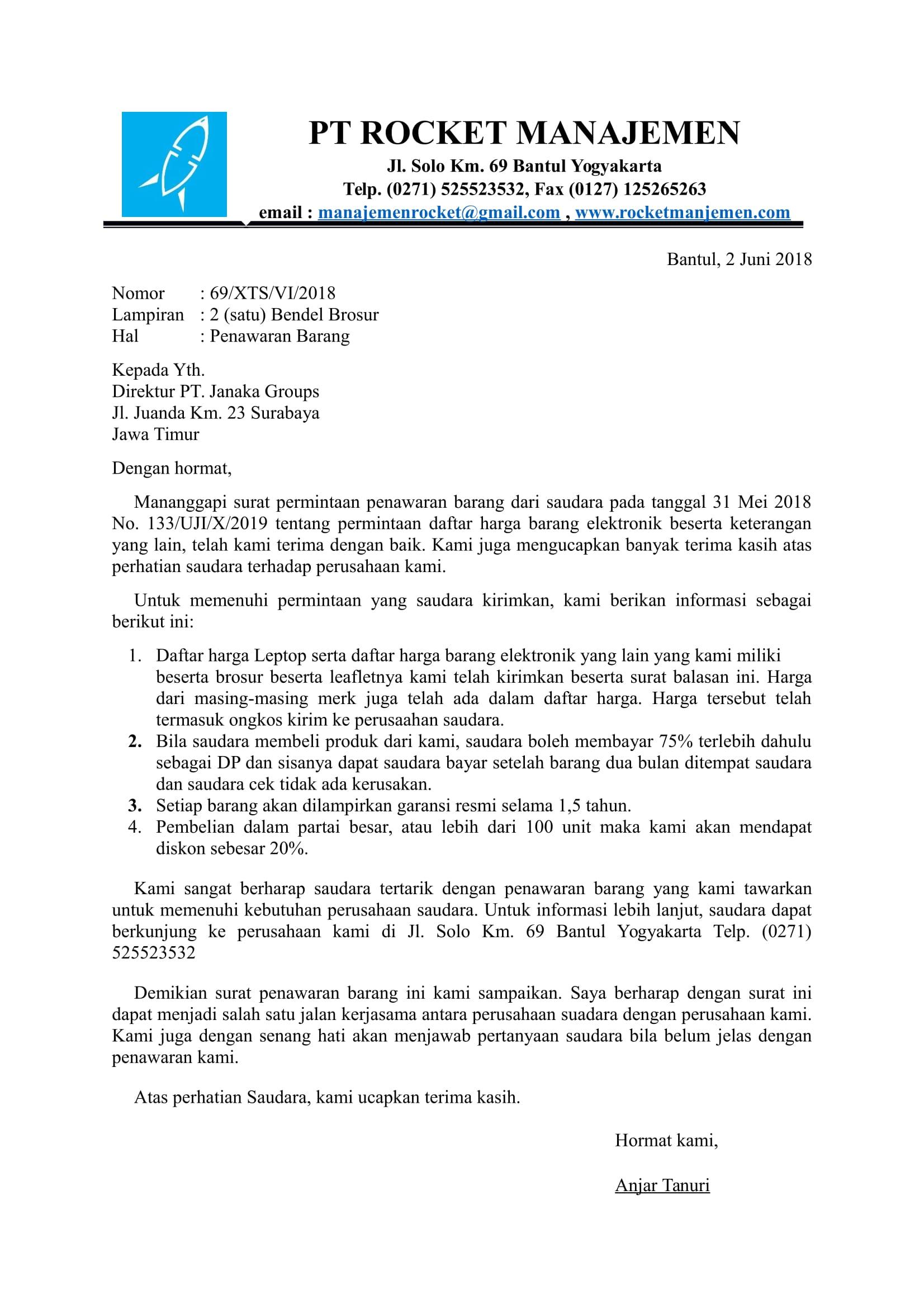 Contoh surat balasan