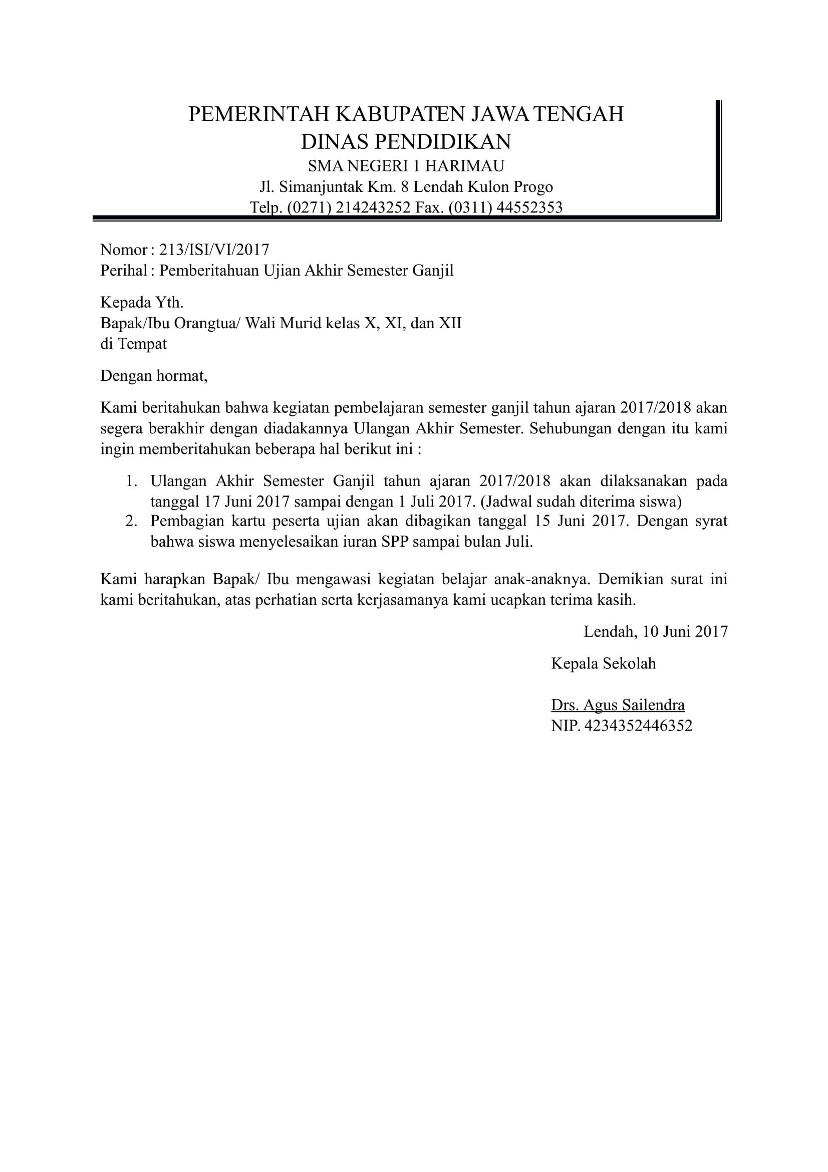 Contoh surat pemberitahuan resmi