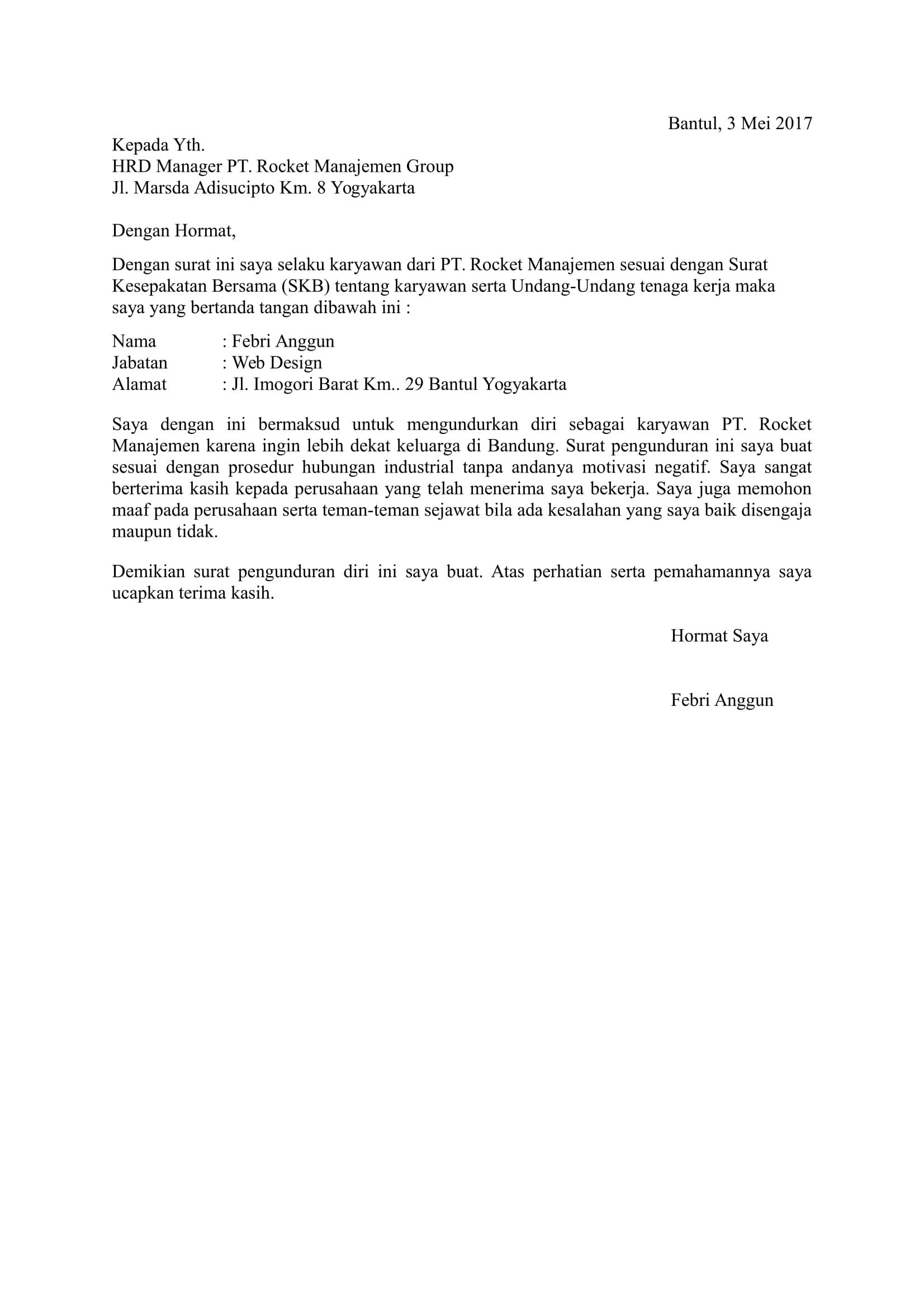 Download 11 Contoh Surat Pengunduran Diri atau Resign .DOC
