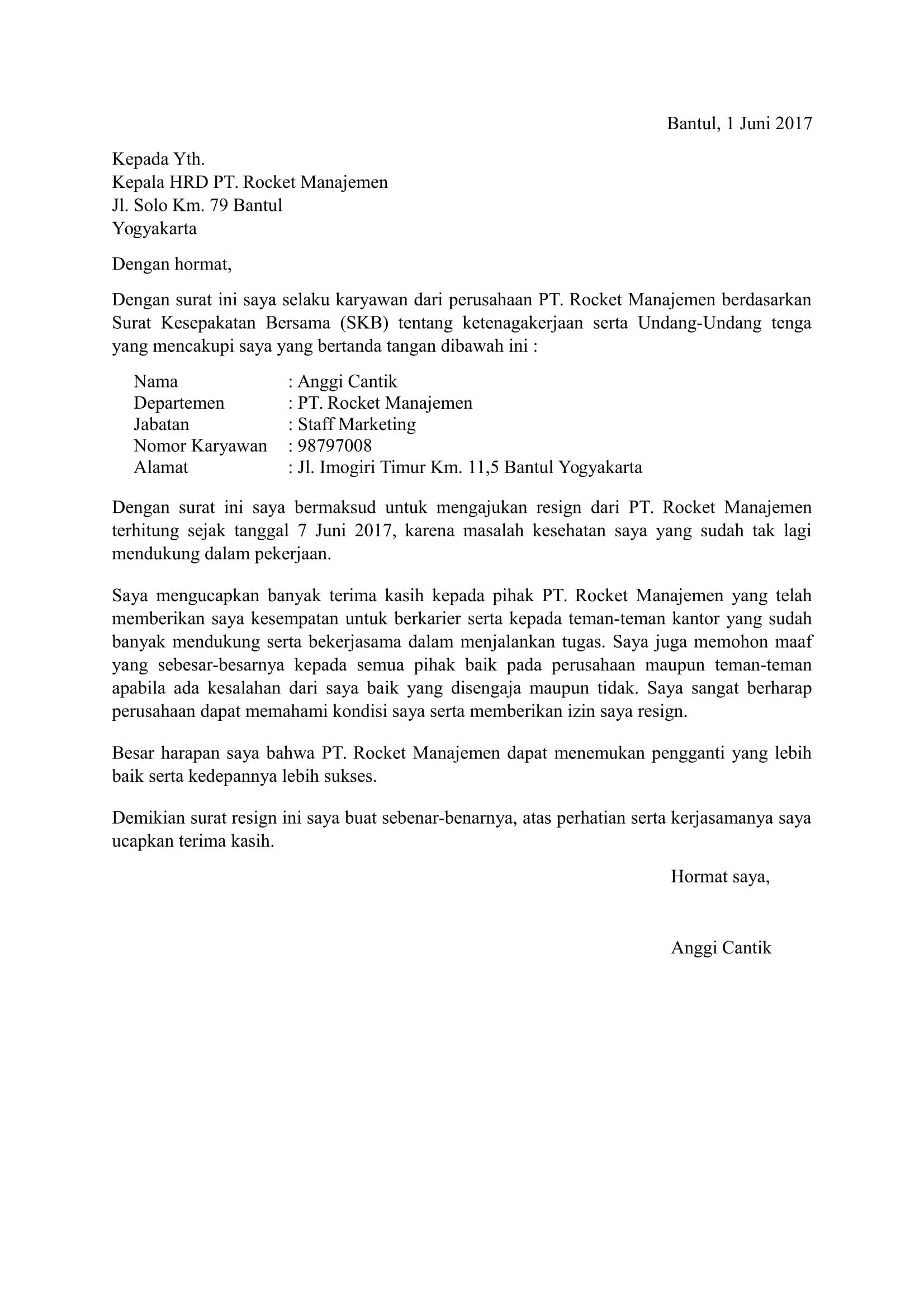 Download 11 Contoh Surat Pengunduran Diri Atau Resign Doc