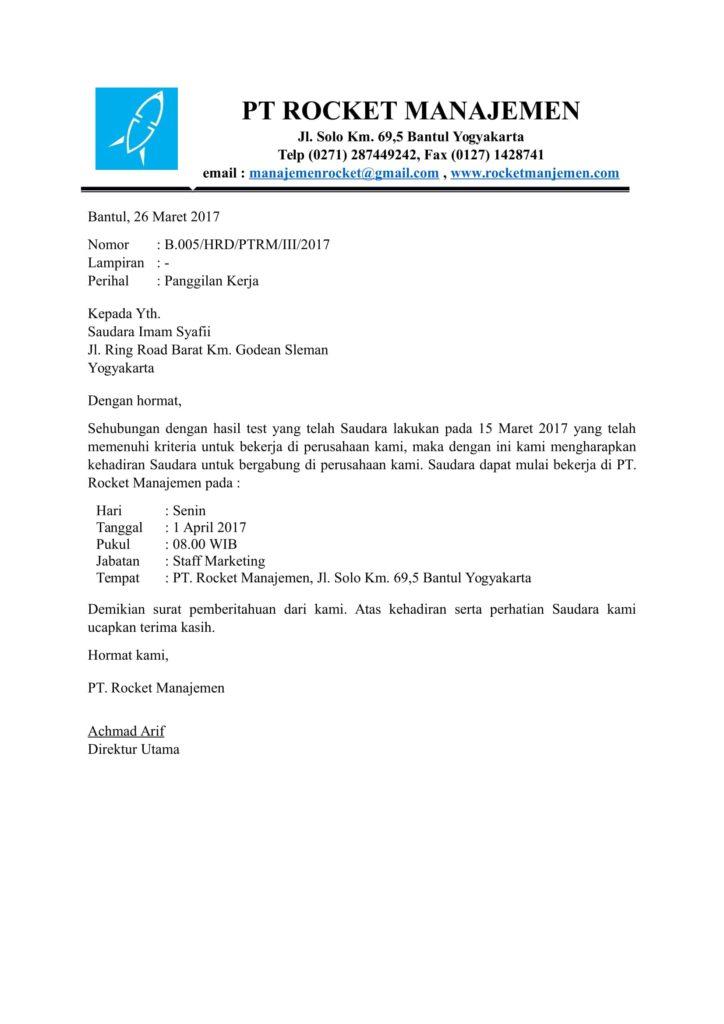 Contoh surat resmi dinas