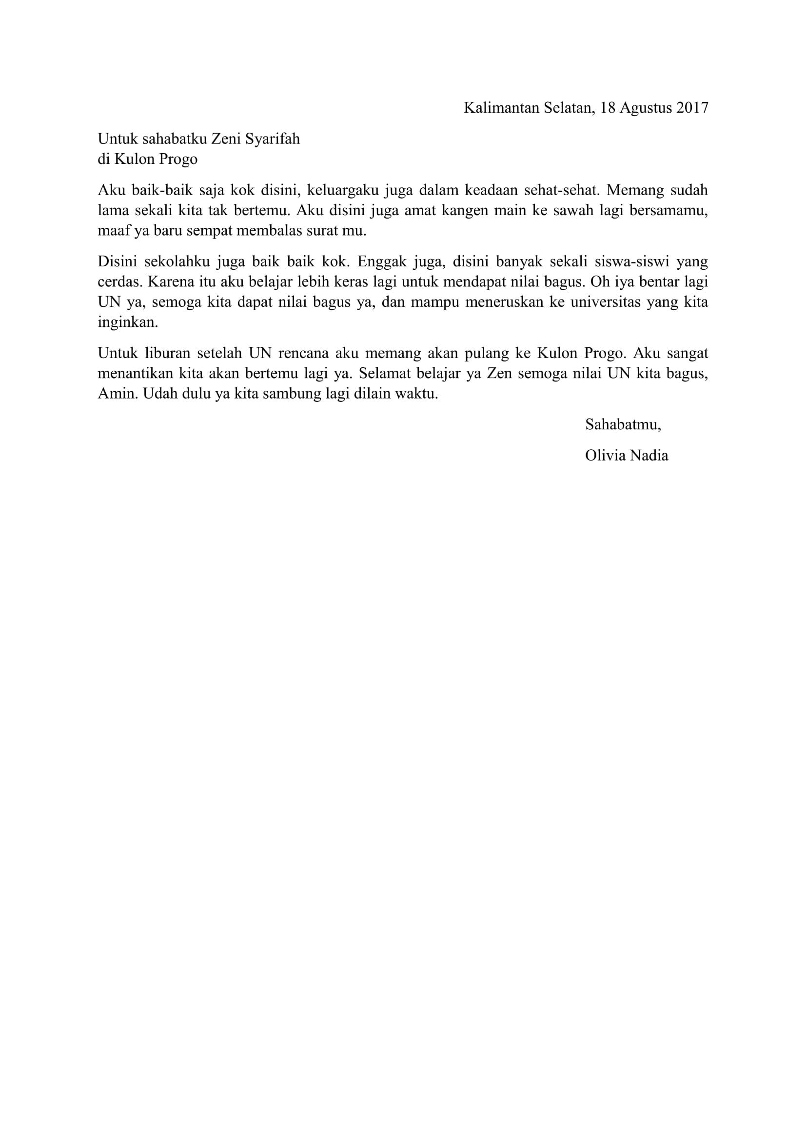 Download Contoh Surat Untuk Sahabat Pena