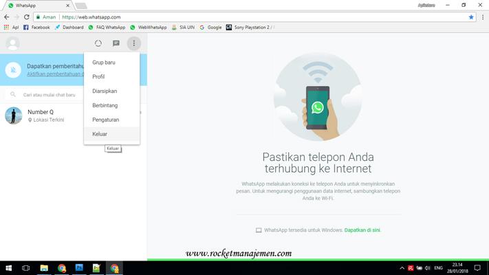 Logout dari whatsapp web