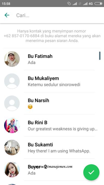 Kirim Pesan siaran whatsapp