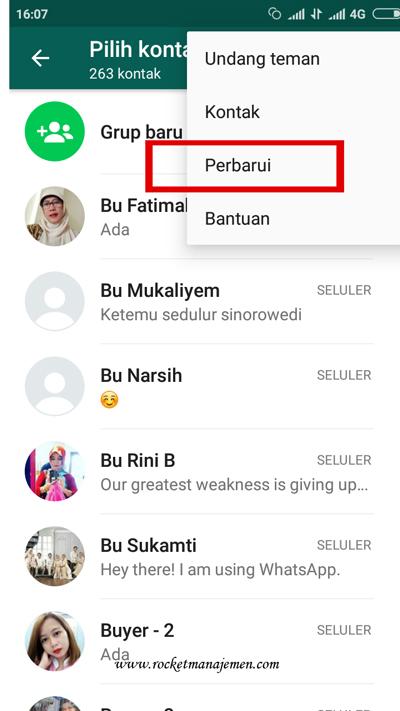 perbarui kontak whatsapp