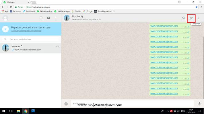Mengirimkan file di whatsap web