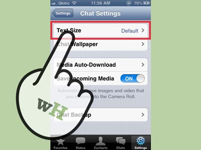 Mengubah ukuran font whatsapp di iPhone