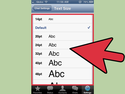 ubah ukuran font whatsapp d iphone