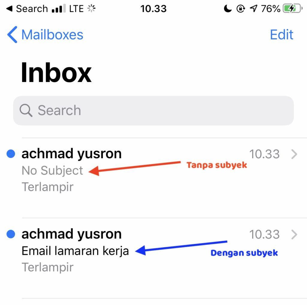 contoh lampiran email subyek lamaran