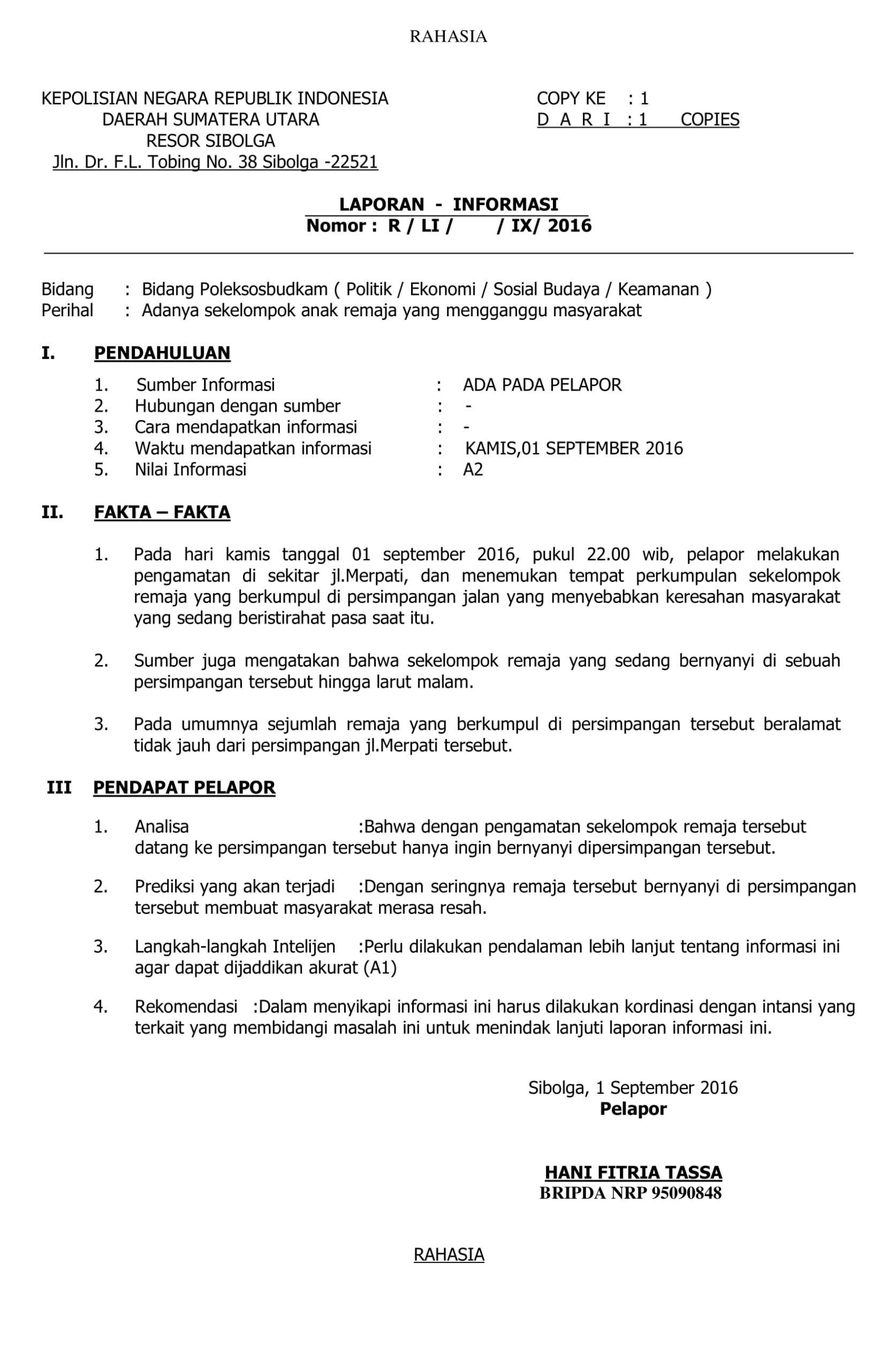 Laporan Informasi Pengertian Tujuan Contoh Docx